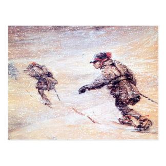 Laplanders dans la tempête de neige - snostorm de carte postale