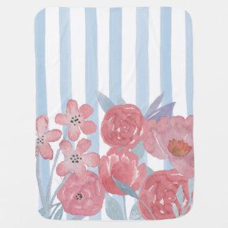 L'aquarelle barre des fleurs couvertures pour bébé