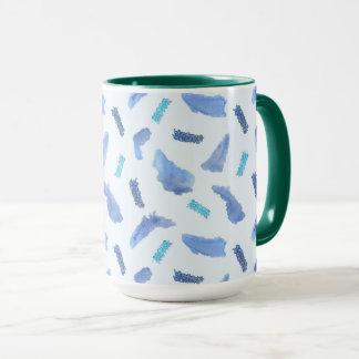 L'aquarelle bleue repère la tasse combinée de 15