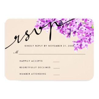 L'aquarelle de lavande fleurit épousant RSVP Carton D'invitation 8,89 Cm X 12,70 Cm