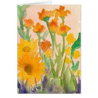 L'aquarelle de tournesols d'automne fleurit le carte