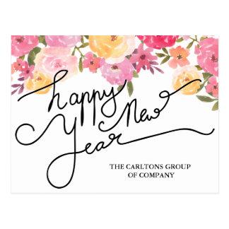 L'aquarelle fleurit la typographie de bonne année carte postale