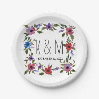 L'aquarelle fleurit le beau monogramme de mariage assiettes en papier