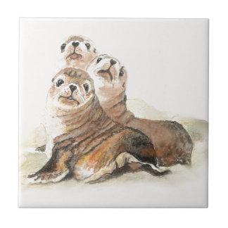 L'aquarelle mignonne scelle l'animal petit carreau carré