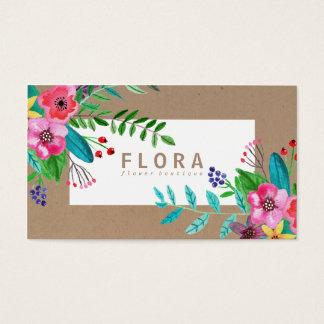 L'aquarelle moderne fleurit le fleuriste de papier cartes de visite