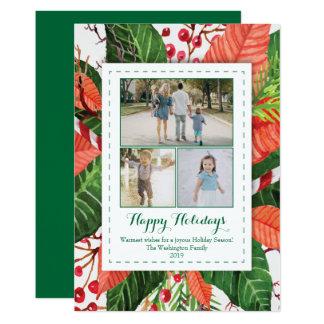 L'aquarelle part du carte photo de Noël trois (3) Carton D'invitation 12,7 Cm X 17,78 Cm
