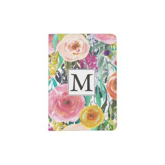 L'aquarelle romantique de jardin fleurit le protège-passeport