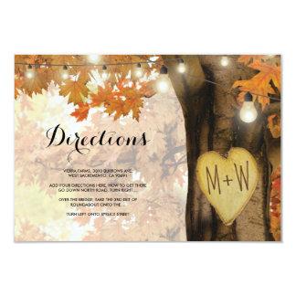 L'arbre rustique d'automne d'automne allume des carton d'invitation 8,89 cm x 12,70 cm