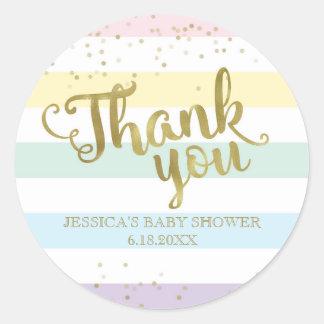L'arc-en-ciel d'or de Faux barre le Merci de baby Sticker Rond