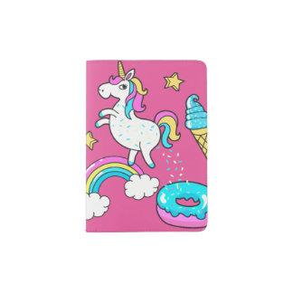 L'arc-en-ciel pooping de licorne drôle arrose sur protège-passeport
