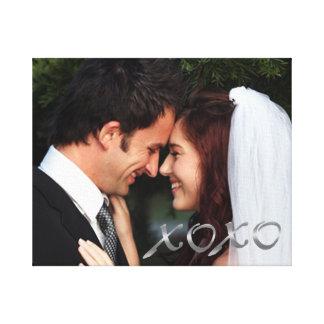 L'argent étreint et embrasse la photo de mariage toiles