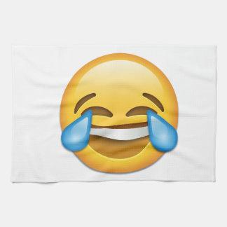 Larmes d'emoji de joie drôles linges de cuisine