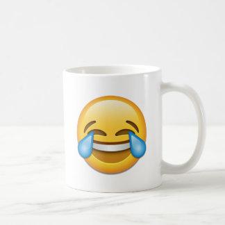 Larmes d'emoji de joie drôles mug blanc