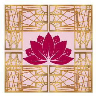 L'Art déco Retro Lotus (cerise)