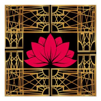 L'Art déco Retro Lotus (sauver & black)