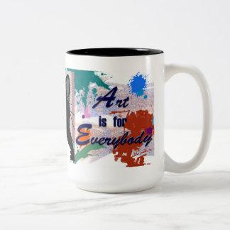 L'art est pour tout le monde - même des chats ! mug bicolore
