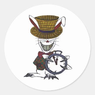 L'autocollant blanc de logo de lapin sticker rond
