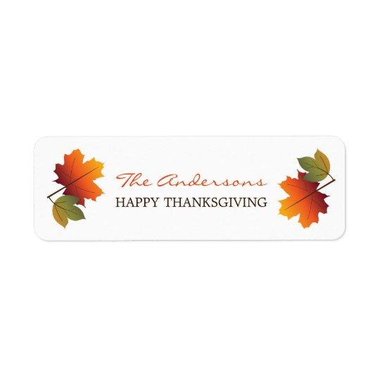 L'automne coloré de thanksgiving laisse des étiquette d'adresse retour