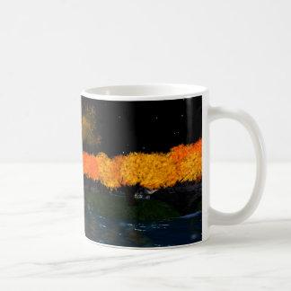 L'automne flambe le blanc 11 onces. Tasse de café