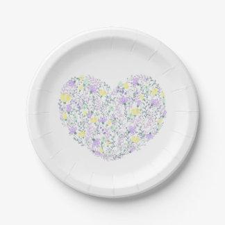 Lavande de Purple Heart et fleurs jaunes - mariage Assiettes En Papier