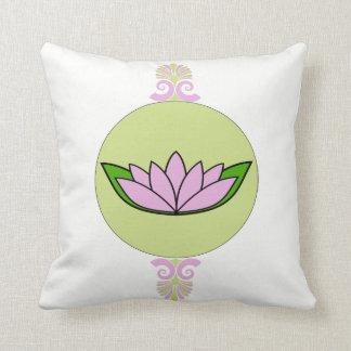Lavande et fleur de lotus verte coussin