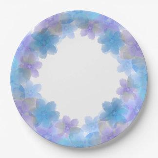 Lavande et plaques à papier de mariage floral bleu assiettes en papier