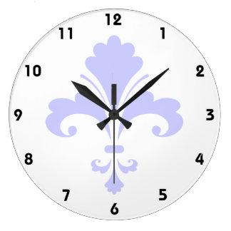 Lavande Fleur-De-lis bleu Grande Horloge Ronde