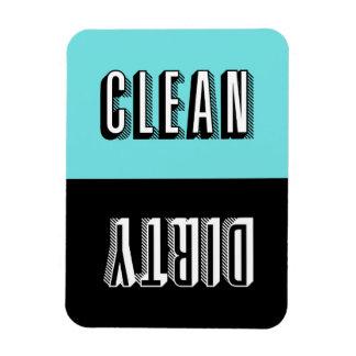 Lave-vaisselle de typographie de bloc de bleu et magnet flexible