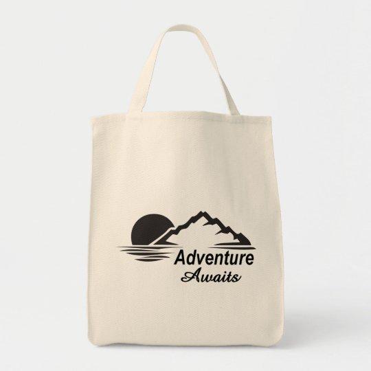 L'aventure attend la nature grande dehors sac en toile épicerie