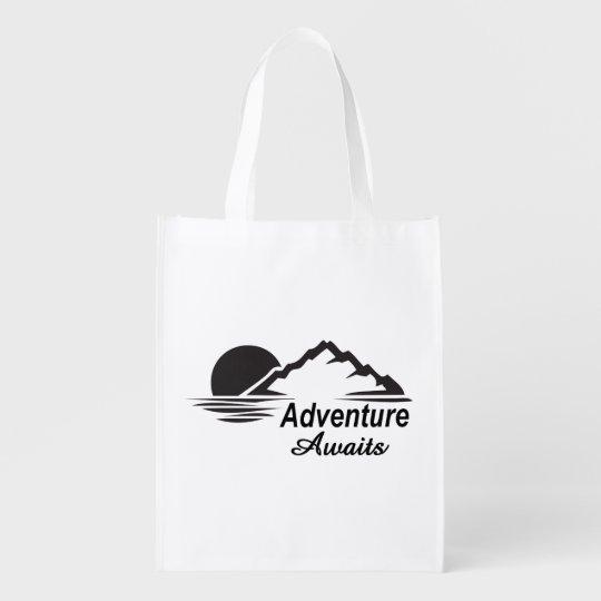 L'aventure attend la nature grande dehors sac réutilisable d'épcierie
