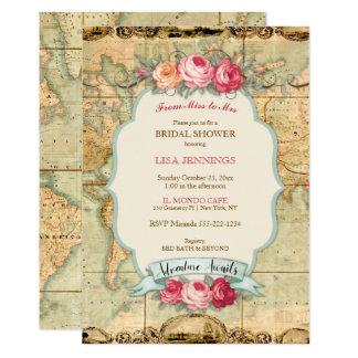 L'aventure attend les roses vintages de carte du carton d'invitation  12,7 cm x 17,78 cm