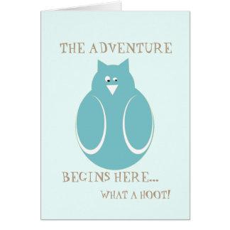 L'aventure de retraite commence ici le hibou ce carte de vœux