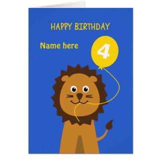 Le 4ème lion d'anniversaire d'enfants ajoutent le carte de vœux