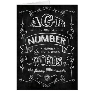 """Le """"âge est juste un nombre…"""" Carte d'anniversaire"""