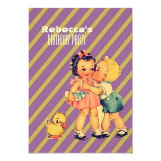 le baiser mignon badine la rétro fête carton d'invitation  12,7 cm x 17,78 cm
