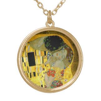 Le baiser par Gustav Klimt Collier Plaqué Or