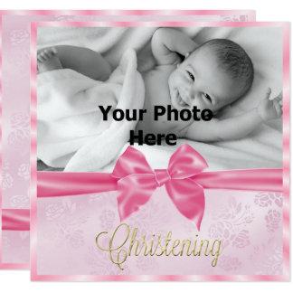 Le baptême de la fille de photo d'arc de satin carton d'invitation  13,33 cm