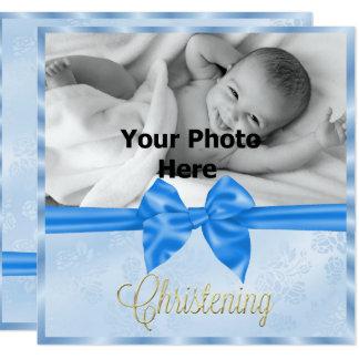 Le baptême du garçon de photo d'arc de satin carton d'invitation  13,33 cm