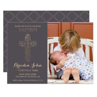 Le baptême du garçon, invitation de baptême avec