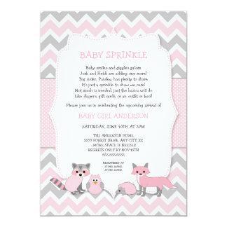 Le bébé animal de région boisée rose arrosent, carton d'invitation  12,7 cm x 17,78 cm