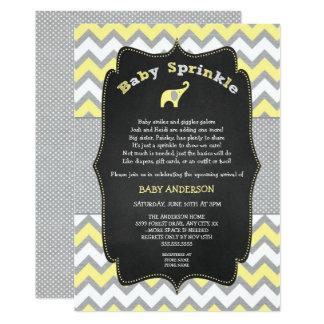 Le bébé jaune d'éléphant arrosent, baby shower carton d'invitation  12,7 cm x 17,78 cm