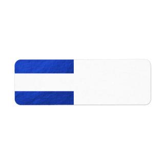 Le blanc élégant barre l'aluminium bleu imprimé étiquette d'adresse retour
