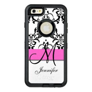 Le blanc noir rose décoré d'un monogramme coque OtterBox iPhone 6 et 6s plus