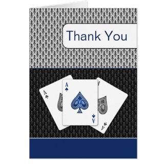 le bleu marine 3 aces des cartes de Merci de