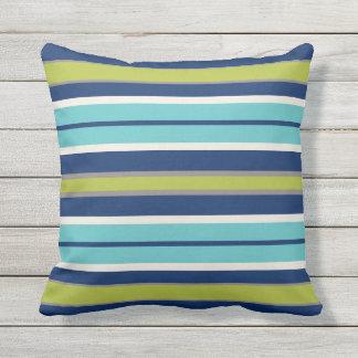Le bleu marine vert et le gris barre | coussins carrés