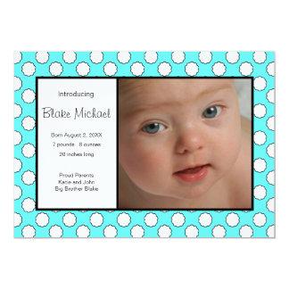 Le bleu pointille le faire-part de naissance