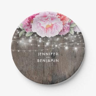Le bois rustique floral rose allume le mariage assiettes en papier
