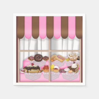 Le bonbon à fenêtre de boulangerie traite les serviette en papier