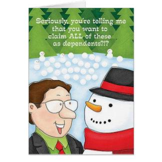 Le bonhomme de neige de carte de Noël de comptable