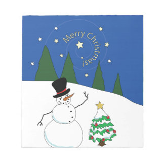 Le bonhomme de neige heureux dit le Joyeux Noël Bloc-note